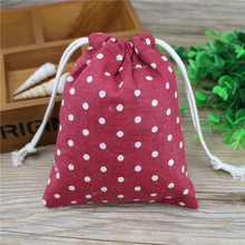 Cotton Gift Bag Korean Red Cloth White Wave 14x16cm 30g 20pc/set Candy Bag Beads Bags For Handmade  Wedding Gifts For Guests