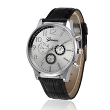 Montre Homme 2017 NEW Men's Watches GENEVA Unisex Faux Leather Band Business Wrist Watch Men Sliver Steel Dial Quartz Watches #N