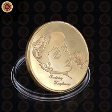 Wr Famous Hollywood Film Star Metal Coin Beautiful Audrey Hepburn Gold Plated Coin Vintage Art Craft Collection Gifts 40x3mm(China)
