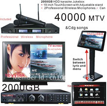 "Chinese Karaoke Machine with 19""Touch Screen + Professional UHF 2 Wireless karaoke Mirophones System 2000GB Hard Drive Karaoke"