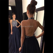 Elegant Halter Off The Shoulder Beading A Line Long Evening Dresses 2016 Backless Sequined Floor Length Evening Dress SML9502