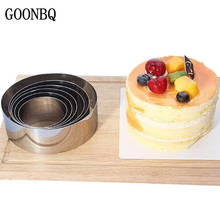 GOONBQ 6 pcs/set Round Mousse Ring Set Stainless Steel Circle Cookie Cake Ring  Gum Paste Bread Cutting Mould