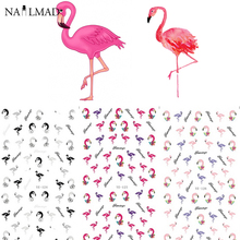 3 patterns/sheet Colorful Flamingo Nail Water Decals Transfer Stickers Nail Sticker Nail Art Decoration Accessories