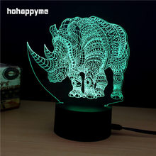 Rhinoceros Neon Light Sign 7 Colors Changing LED Glitter Acrylic Sheet Plaques Desktop Lamp Decoration Home Decor