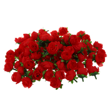 100 x Artificial Flower Head Roses Deco Rosettes DIY Wedding party Baptism RED