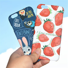 Cunning Fox With Lovely Rabbit Strawberry Position Phone Case For iphone 7 7 Plus  6,6s,6Plus Bright And Lovely Case For 6s