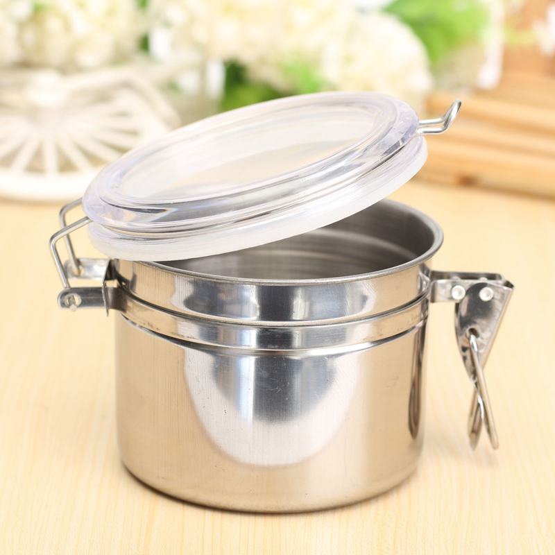 Stainless Steel Airtight Sealed Canister Coffee Flour Sugar Tea Container Holder