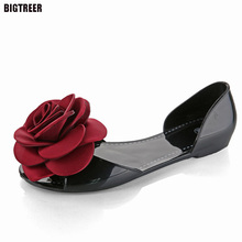 BIGTREE  Shoes Woman Sandals Lovely Pink Rose Jelly Shoes Candy Color Flat Zapatos Mujer Sandals Summer Style Sandalias 21