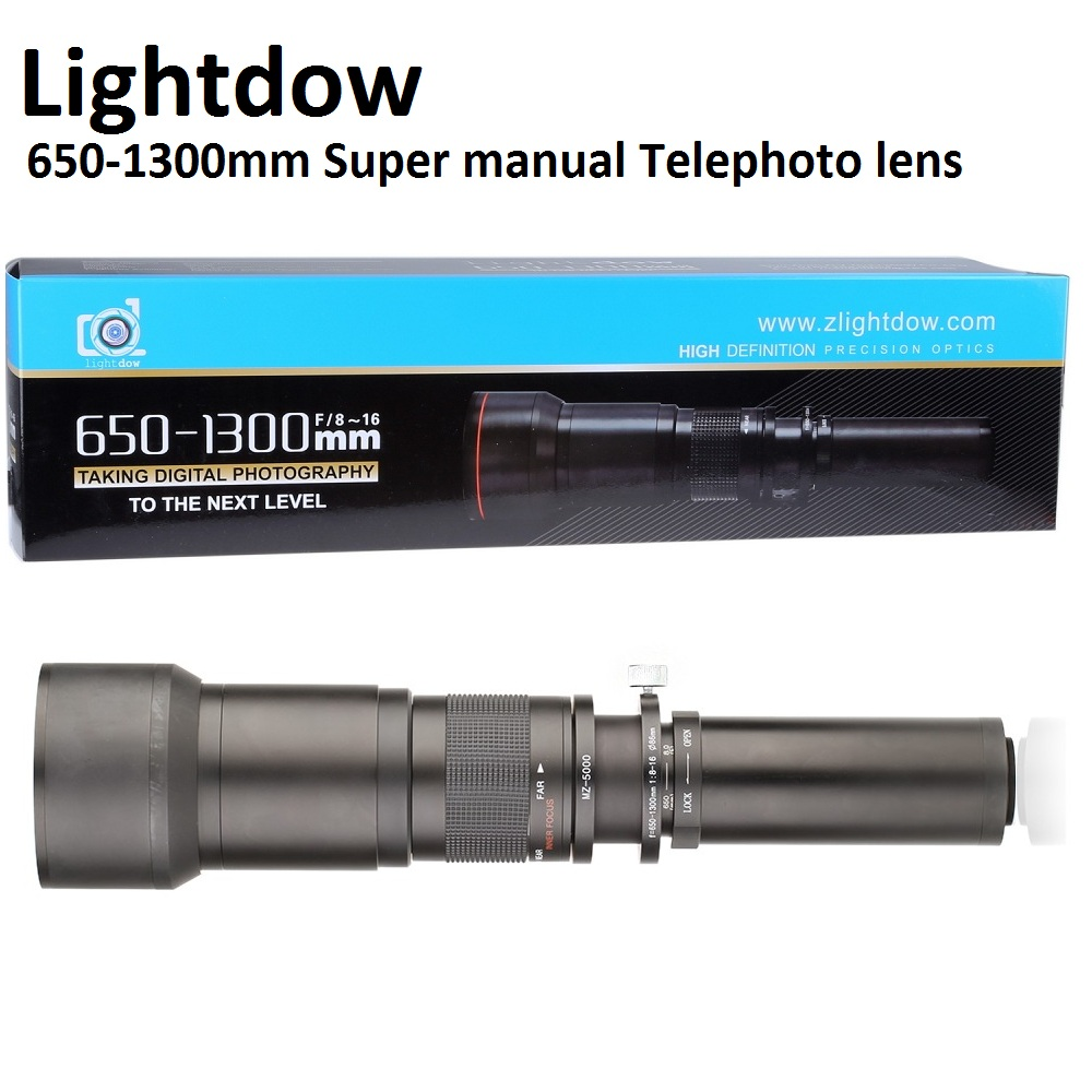 Lightdow 650-1300mm F8.0-F16 Super Telephoto Manual Zoom Lens+T2 Adapter Ring for Cannon Nikon Sony Pentax DSLR Cameras 1