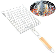 1PCS WOOD HANDLE STAINLESS STEEL BBQ FISH GRILLED NET 2 FISH BARBECUE GRILLING NASKET OUTDOOR BARBECUE MESH BBQ TOOL
