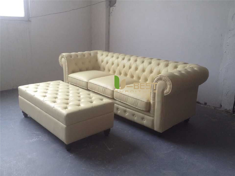 beige color top grain Chinese real cow leather chesterfield sofa (3)