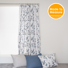 Euro Design 65%polyester and 35% cotton Curtains with Leaves Printed French Window Curtains White color Algea Turqouise