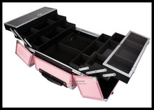EMS Free Shi[pping Professional Trolley Beauty Box Makeup Case with wheels Pink(China)