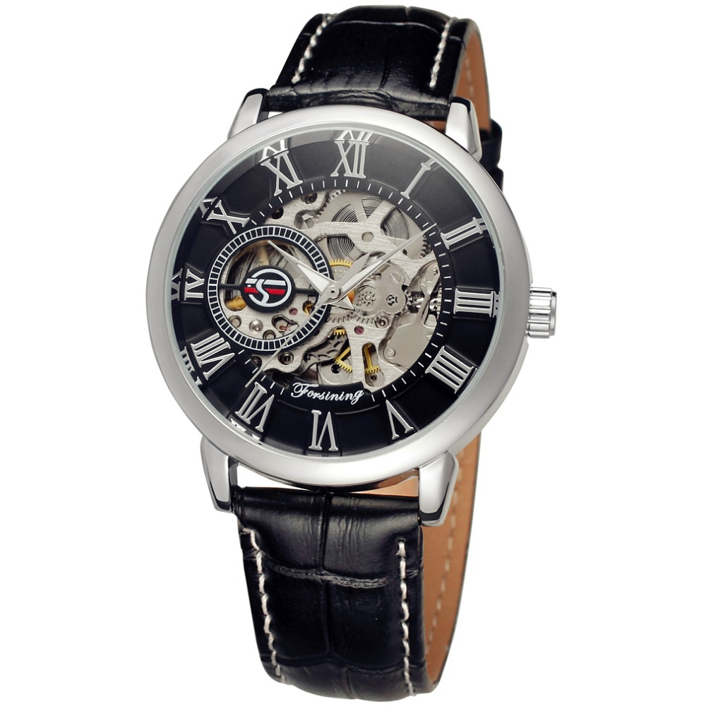 Fashion FORSINING Men Luxury Brand Skeleton Leather Self Wind Watch Automatic Mechanical Wristwatches Gift Box Relogio Releges<br><br>Aliexpress