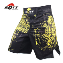 SOTF yellow Azrael breathable sports fitness mma fighting boxing shorts Tiger muay thai boxing shorts mma short  pretorian boxeo