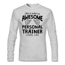 Men Crewneck Long Sleeve Custom Cotton Plus Size Base T-shirt Creative Awesome Personal Trainer T-shirts Men On Sale