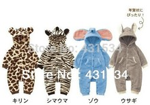 Autumn Winter New Baby Romper Lovely Animal Design Costume Infant Leopard zebra Elephant Romper Newborn Baby Fleece Warm Clothes