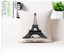 Free shipping/fashion simple black and white cotton fiber hold pillowcase car sofa cushion for leaning on the Eiffel Tower No In