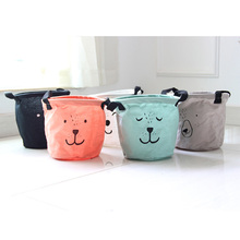 New Cartoon Aminal Face Linen Desk Storage Box Home Cotton Organizer Case Cloth Cosmetic Stationery Sundries Storage Box #94877(China)