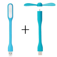 Creative USB Fan Flexible Portable Mini Fan and USB LED Light Lamp For Xiaomi Power Bank & Notebook & Computer Summer Gadget(China)