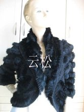 free shipping/2014 wholesale/real rabbit knitted rabbit fur vest /jacket/coat/outwear BLACK