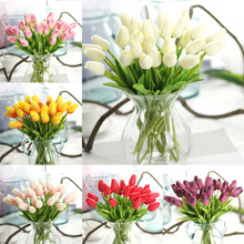 15pcs/Lot Real Touch Tulip Flower Artificial Fake Flowers Silk Petals for Wedding Valentines Day Home Decorative Crafts