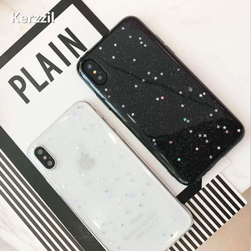 Kerzzil Phone Case Fashion Glitter Bling iphone X Case Cute Love Heart Back Cover Star Shining Powder Cases iphoneX Capa