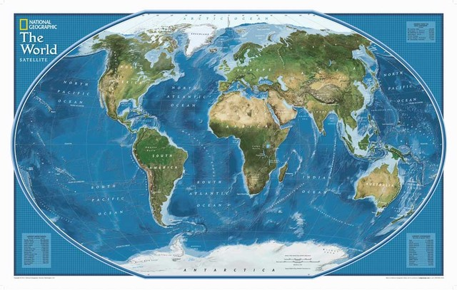Hd National Geographic World Map Canvas Oil Painting Art
