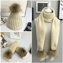2017 new arrival lady scraf set natural raccoon fur pompom beanies gloves scarf 3 pcs /set(China)