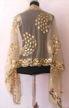 Yellow  New Hot Chinese lady girl Women's Beaded silk Sequin Shawl/Scarf Wraps Peacock flower free shipping