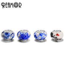 REAMOR Chinese Ink Painting Plum Blossom & Orchid & Bamboo & Chrysanthemum Lampwork Beads For Women Bracelet Bangles Jewelry
