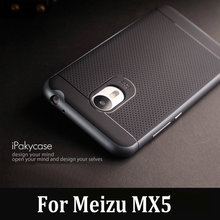 Original iPaky Brand Meizu MX5 Case Luxury Fashion Hybrid Armor Silicone Rubber Back Cover with Frame for MX5