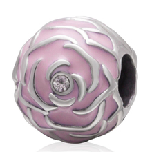 Fit Pandora Bracelets Pink Enamel Rose Beads Original 925 sterling silver charms With CZ Stone DIY Jewelry Accesssory