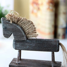 Wood Horse Figurines Creative Decoration Crafts Gifts mediterranean style furniture Home Decor decorative figurine miniature(China)