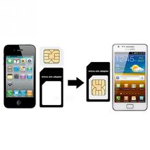 High Quality 4 in 1 Micro Sim Adapter Nano Sim Card Adapter For apple iphone 4 4s 5 5s 5c With Card Pin