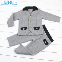 Spring Autumn Baby Boys Gentleman Sets Handmade Knit Blazer+Pants Kids Formal Suits Winter Warm Casual Children's Outfits 2pcs