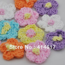 40 pcs Crochet Spring Flower Applique/trim/sewing A0138(China)