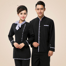 Top+Apron Restaurant Waiter Uniform for Men Women Hotel Work Unifom Cafe Catering Waitress Work Wear Fast-food Chef Jacket 89(China)