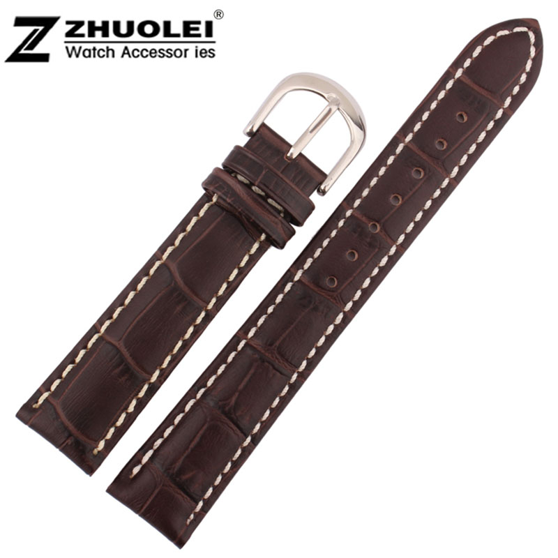 20mm 22mm Wholesale Price New Top Quality Brown Genuine Leather Watch Band Strap With White Stitched Silver steel Clasp<br><br>Aliexpress