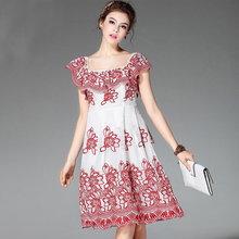 High Quality Elegant Embroidery Lace Organza Square Collar Dress Short Sleeve Knee Length Slim Sweet Dress