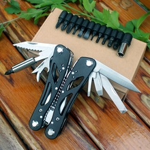 Multifunctional Folding Plier EDC Multitool Pocket Tools Plier Scredriver Bits Outdoor Survival Combination Multi Camping Knife(China)