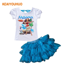 Baby Girl Clothes 2017 New Summer Moana Cartoon print Sets Children girls Princess Dress + T shirt 2PCS Suits Kids Clothing