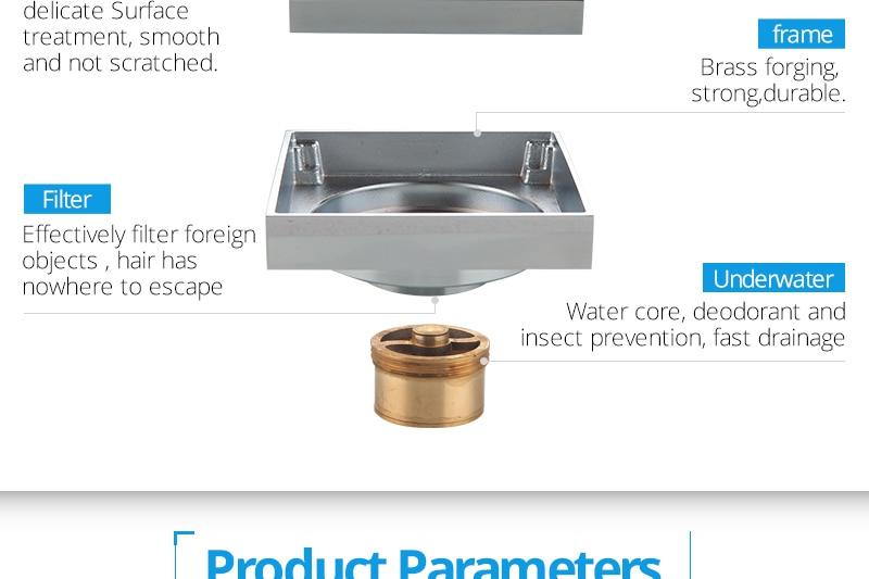 DCAN Brass Drains Drain Strainers Floor Linear Shower Floor Drains Bathroom Shower Drain Cover Kitchen Filter Strainer Drainer (18)