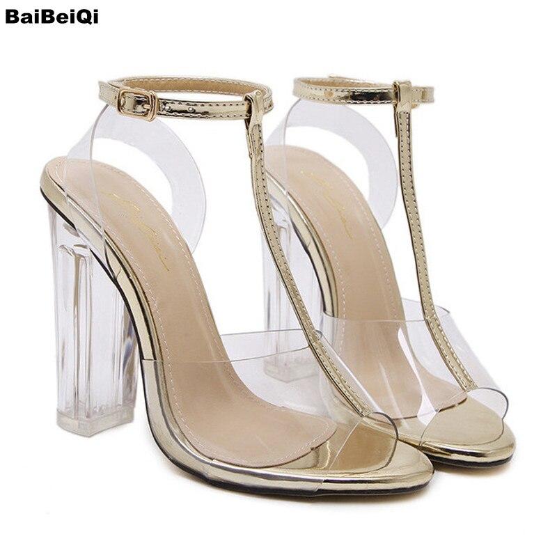 2017 Brand New Transparent Shoes Women Sandals Open Toes Sexy High Heel Ladies Shoes Black Women Pumps T Strap Heel Women Sandal<br>