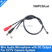 100pcs High Sensitive Security Audio pick up Mic CCTV Microphone For Camera CAM DVR With DC output port