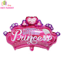 HEY FUNNY Beautiful diamond princess crown balloons princess foil baby shower happy birthday party supplies kid's toy ball(China)