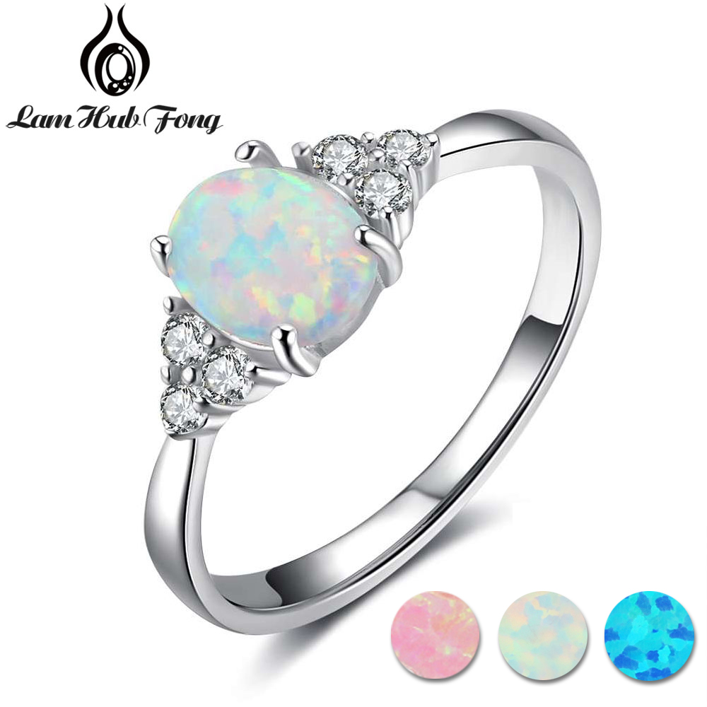 White Fire Opal  Silver Mom Party Wedding Engagement Woman Ring 6-10 Fast