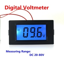 Car Digital DC 20-80V Voltmeter Volt Voltage Panel Meter Digital Car Motorcycle Battery Monitors With LCD Display Blue Backlight