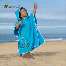 HAKOONA Cotton Hooded Bath Towels For Kids Blue Color Cartoon Octopus Printed Children Bath Towels Absorbent Poncho Toallas