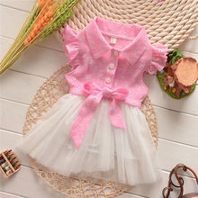 Elegant Girl Dress Girls 2016 Summer Fashion Pink Lace Big Bow Party Tulle Flower Princess Wedding Dresses Baby Girl dress(China)